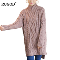 RUGOD Fashion Turtleneck Women Sweaters And Pullovers Solid Long Sleeve Knitted Sweater Winter Thick Warm Long