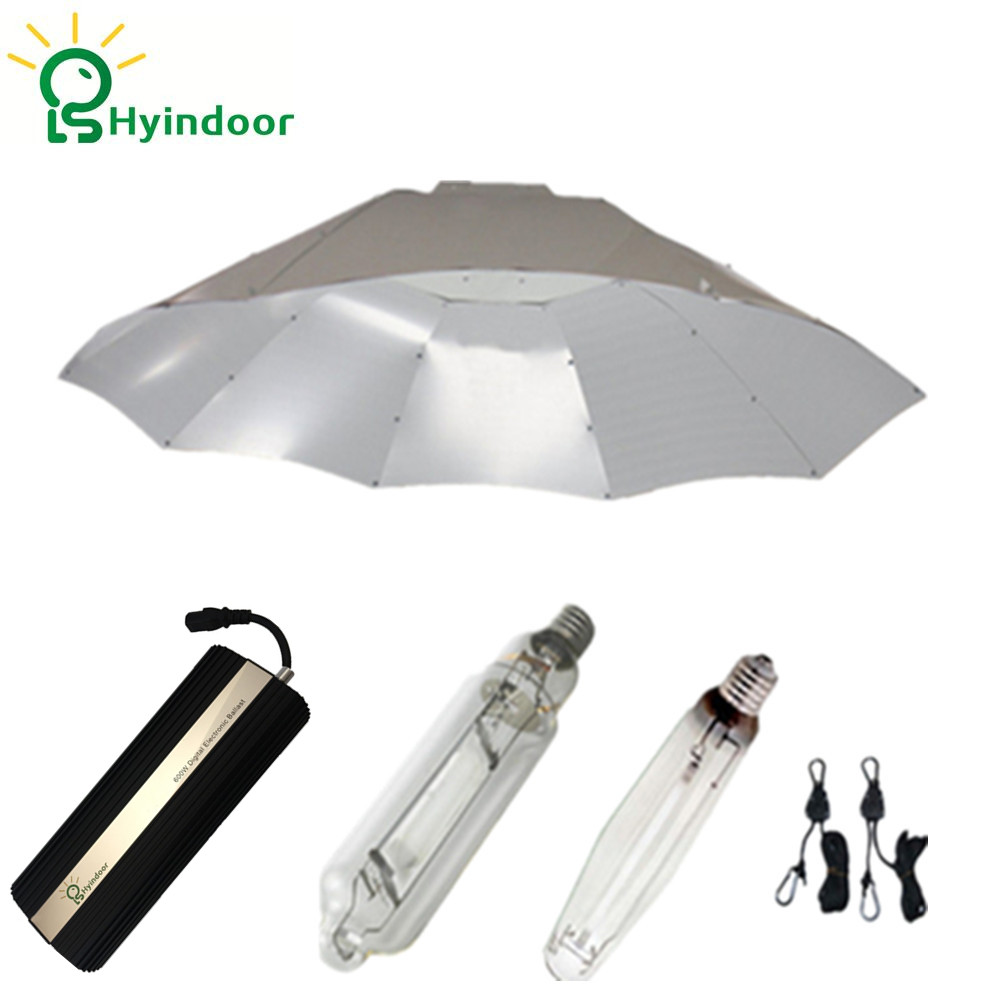 Hydroponic 600W HPS MH Plant Grow Lights System with Parabolic Dimable Digital Ballasts Lamp Covers Shades