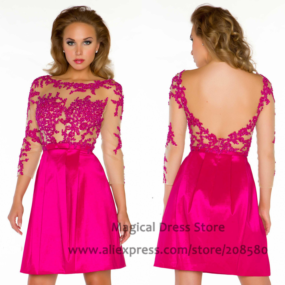 Wedding Fuschia Dress online buy wholesale short fuschia dress from china abiballkleid prom dresses 34 sleeves backless lace vestidos curtos beads appliques bow