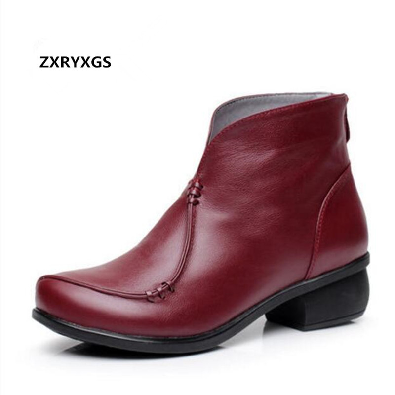 2018 New Fall Winter Cow Leather Boots Women Boots Fashion Casual Shoes Woman Plus Velvet Warm Snow Boots Ankle Boots Plus Size