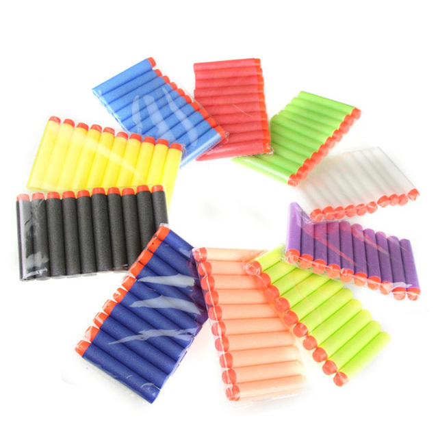 100ps 7.2cm Refill Bullet Darts for Nerf Soft Shells Series Blasters Kid Toy Gun Hollow Soft Warhead Nerf Bullet are make of eva