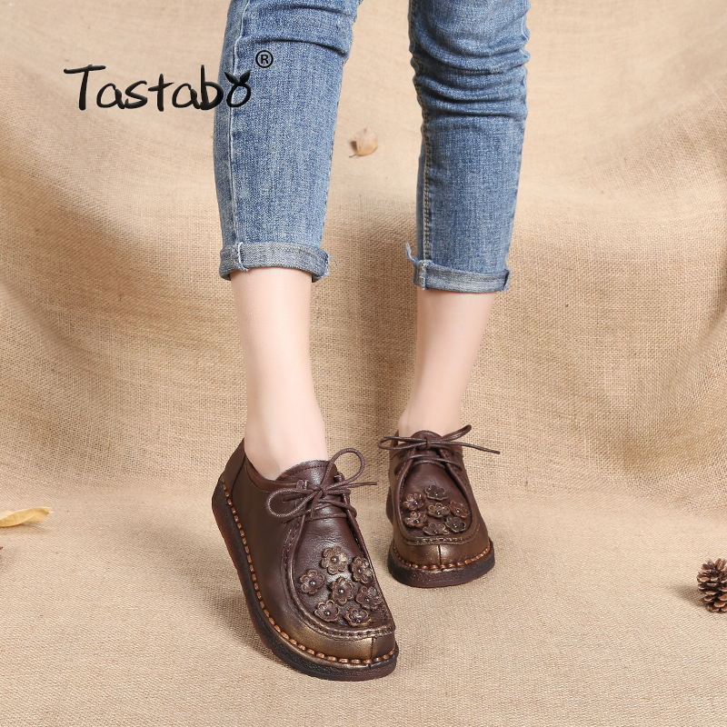 цены Tastabo genuine leather shoes women flats summer comfortable footwear autumn casual lace-up round toe retro women shoes loafers