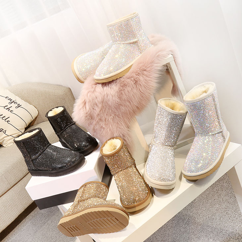 RUIYEE ladies boots snow boots fashion leather slide shoes 2018 winter new women s boots snow