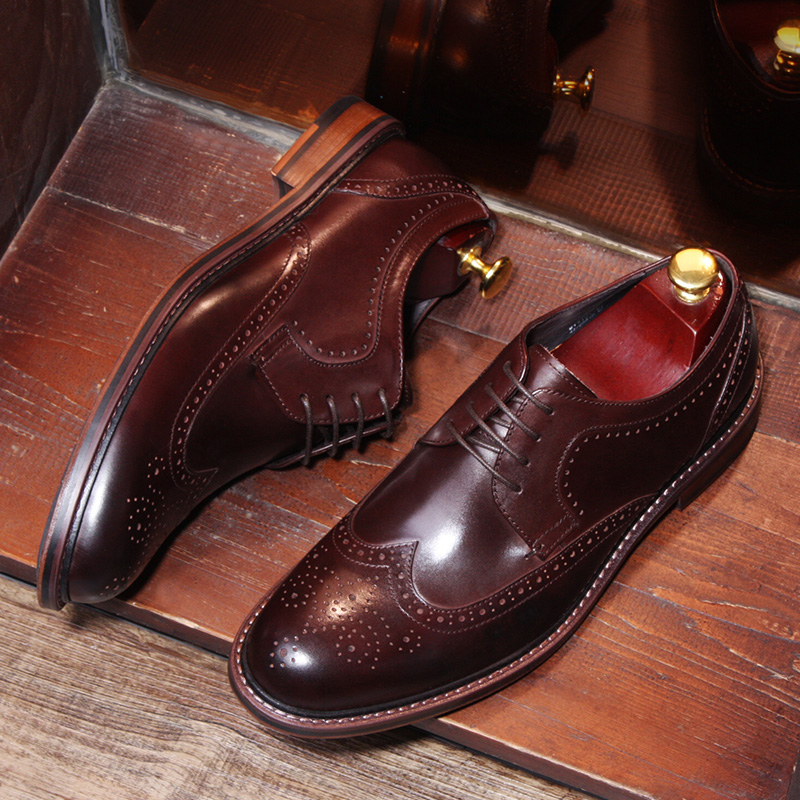 Men Flats Fashion High Quality Genuine Leather Shoes Men Lace-Up Business Men Shoes Male Formal Dress Shoes Brogue Spring mabaiwan black genuine leather men shoes dress wedding male brogue shoes men lace up oxfords prom slipper business formal flats