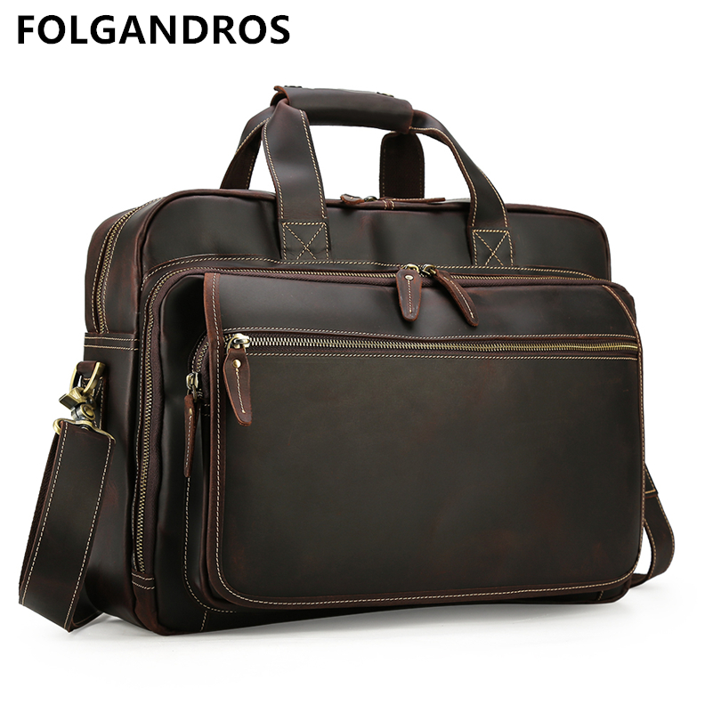 DHL Free Shipping Men's Briefcase Genuine Leather Handmade Thick Cowhide Business Office Laptop Briefcase Tote On Trolley Case