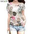 Blusa elegante estampado de flores de lino del algodón mujeres camisas Summer Ladies Tops Casual Camisa floja Femme más el tamaño Blusa Mujer