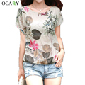 Elegante Floral impressão Blusa de algodão Tops casuais Camisa de linho verão Chemise Femme Plus Size Blusa Mujer