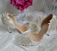 2018 ручной работы роскошные атласные свадебные туфли с острым носком на высоком туфли лодочки на каблуке Белая Свадебная обувь модельные св