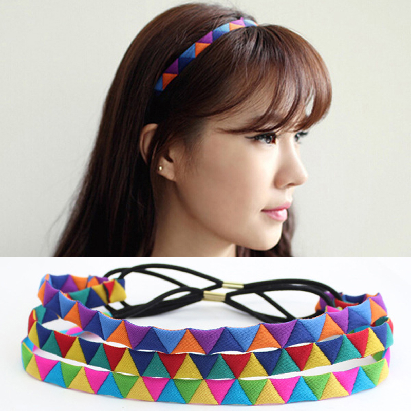 Us 1 67 49 Off Fashion Lady Hair Band Elastic Hair Band Cloth Material Multi Color Triangle Shape Patchwork Simple Headband For Women Headdress In