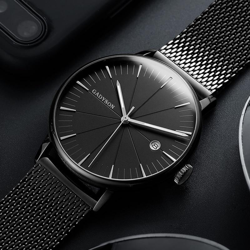 Ultra Thin Watch Men's Quartz Wristwatches Top Brand Luxury Casual Steel Mesh Date Waterproof Clock Male Relogio Masculino 2019