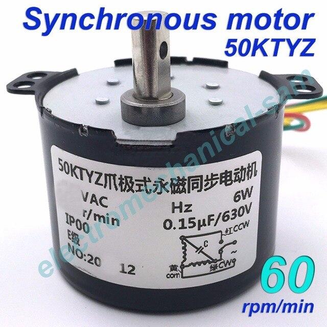 Synchronous Motor 50KTYZ AC 110V 120V 50/60Hz 60 rmp/m CW/CCW 6W ...