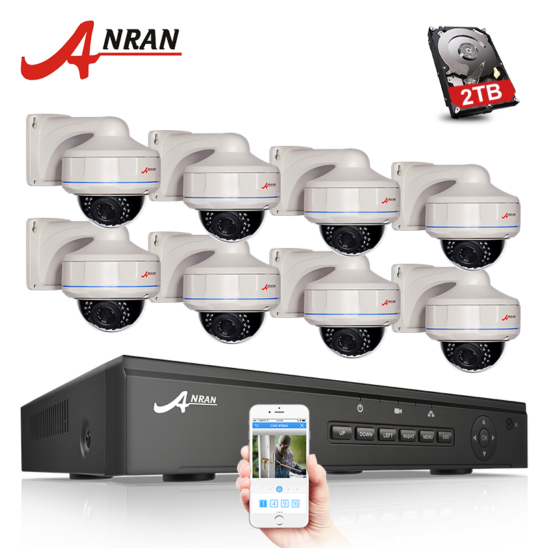 ANRAN P2P Plug and Play 1080P 8CH POE NVR HD 30 IR Vandal-proof Dome Outdoor 2.0MP IP POE Camera CCTV System Hard Disk plug and play 8ch wireless nvr h 264 video surveillance kit 720p hd outdoor vandal proof ir dome wifi cctv camera system 2tb hdd