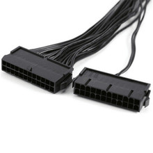 Fonte de alimentação psu 24 pinos atx mainboard placa-mãe adaptador conector cabo duplo futural digital jull12