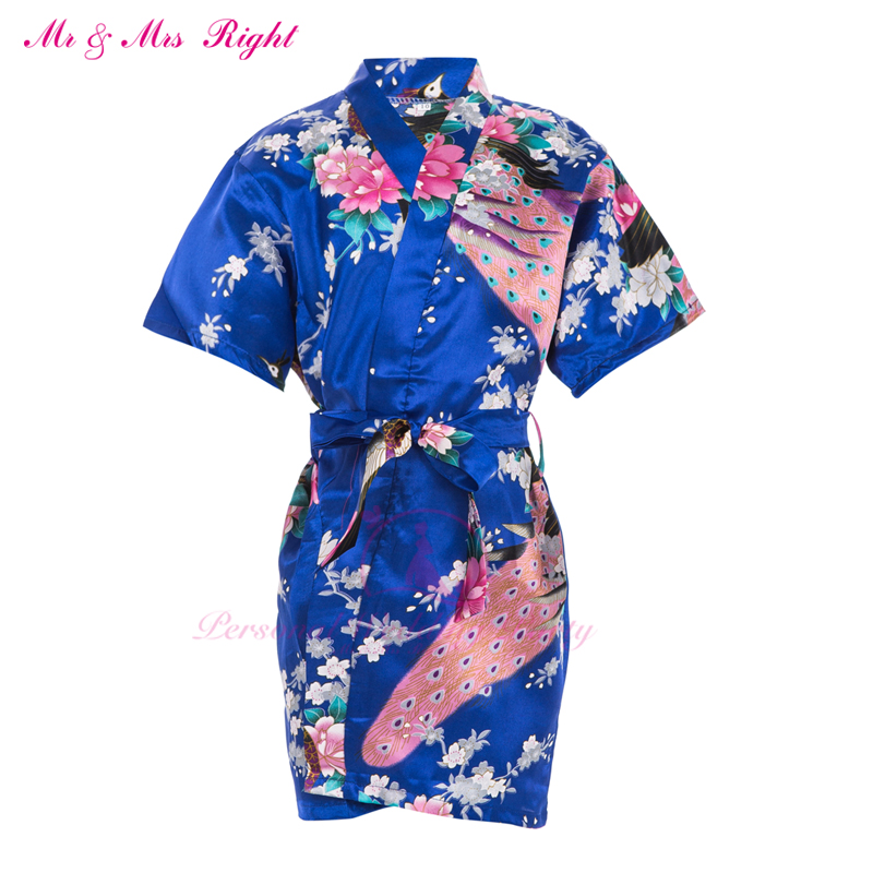 New Summer Kid Robe Satin Prom Gown Flower Girl Bathrobe Kimono Party Clothes Child Pajamas Bath Outfits