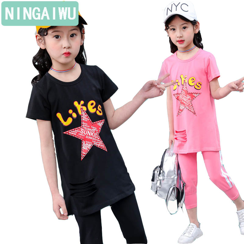 Girls suits summer wear new girl fashion sports suits girl baby cotton clothes long short sleeve T-shirt + 7 minutes pants sets