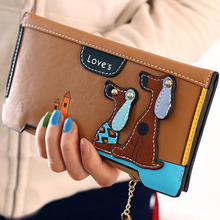12PCS / LOT Wallet Women Lovely Wallet 3D Cartoon Dogs Long Purse Card Holder Ladies Clutch Leather Purse Carteira