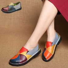Women Shoes Fashion Loafers Genuine Leather Women Flats Mixed Colors Women Casual Shoes Summer Breathable Mother Shoes Moccasins