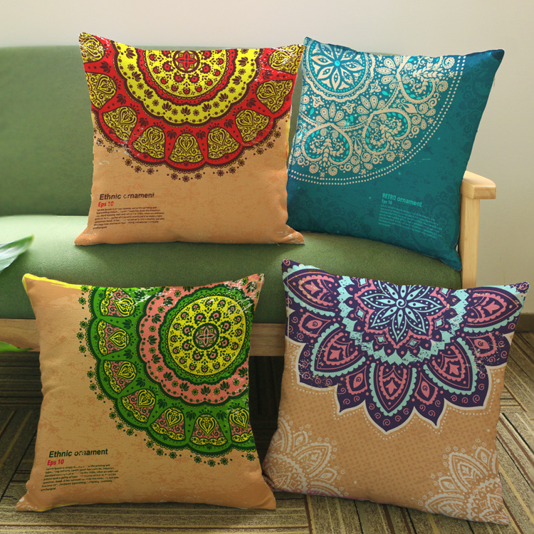 Ethnic Retro Ornament Art Cushion Covers Colorful Floral Flower Mandala Cushion Cover Car Sofa Decorative Linen Pillow Case