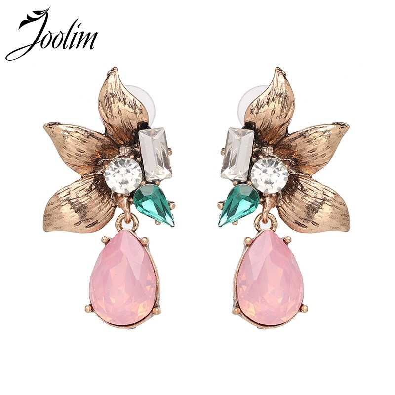 JOOLIM Vintage Green Pink Crystal Piercing Earring Party Earring