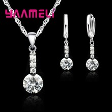 Valentine's Day Gift 925 Sterling Silver Jewelry Sets For Wedding Engagement Women Crystal Earrings Necklace Party Set(China)