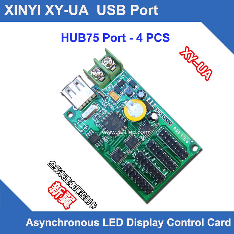 XY-UA HC-1 XINYI USB Port Full Color LED Control Card U-disk Asynchronous Led Display Controller Board With 4*hub75b Port