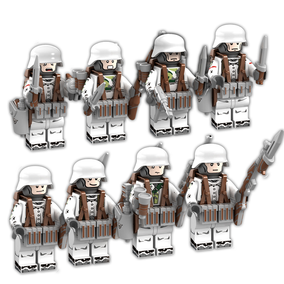 8pcs/set Military Soldiers figures Building blocks set Compatible legoed army Weapon city Bricks Enlighten children toys for boy diy toys military army building blocks defensive wall action figures enlighten toy for children city