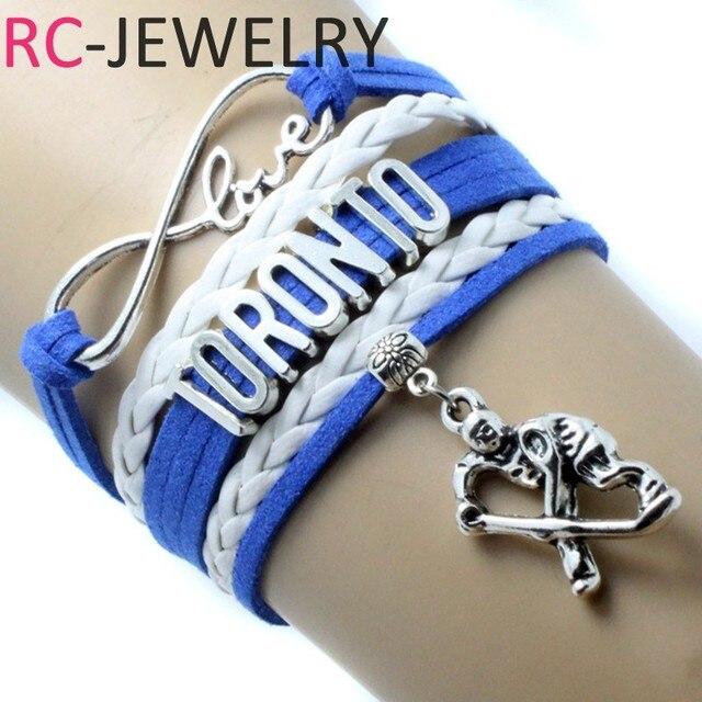 Drop Shipping Infinity Love Toronto Hockey Bracelet Handmade Sports Team Charm Custom Any