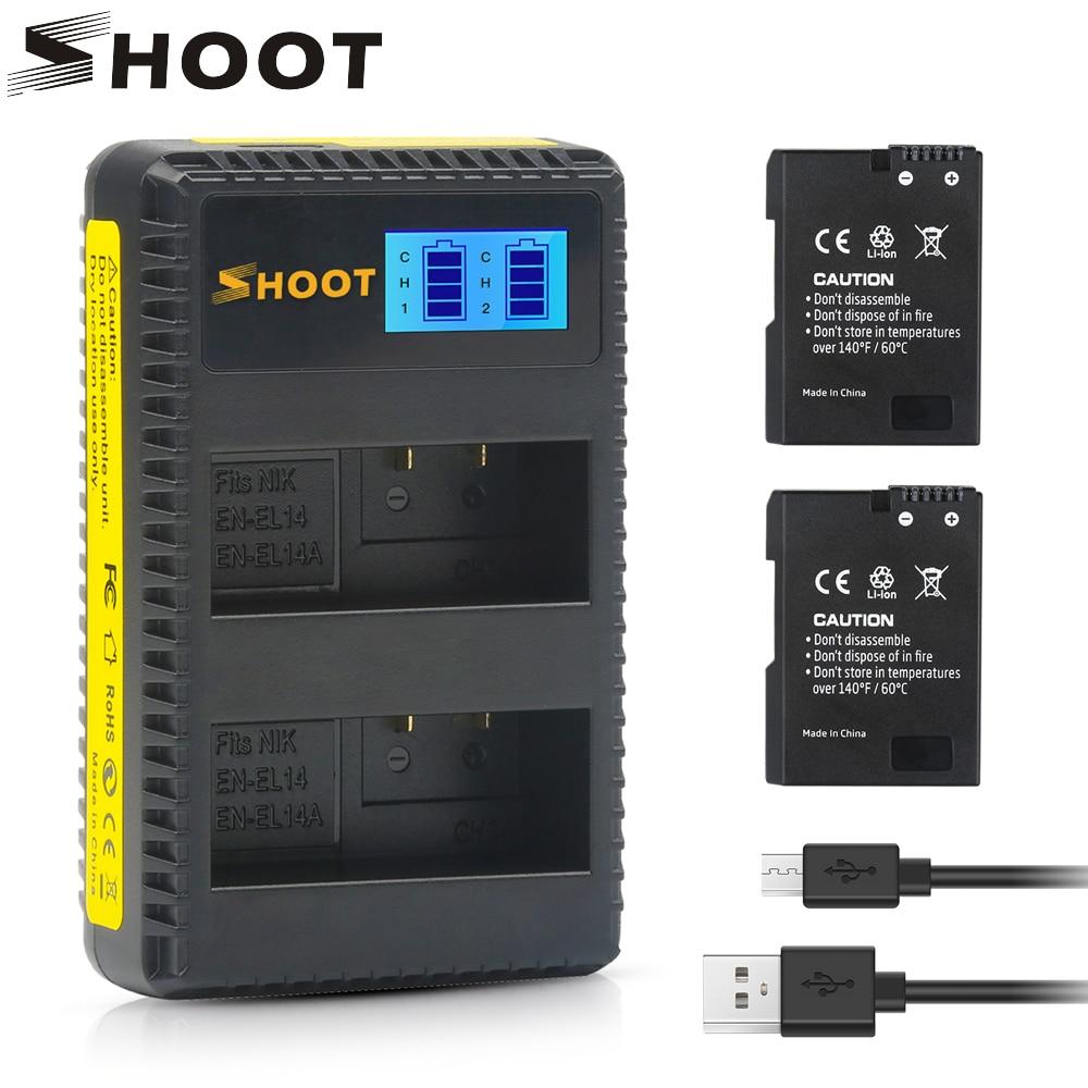 SHOOT 2 pièces EN EL14 EN-EL14 EN-EL14A EN EL14A Batterie + LCD Chargeur Double USB pour Nikon D3100 D3200 D5100 D5200 D5300 P7000 P7100