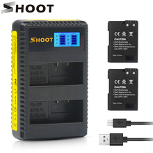 цена на SHOOT 2Pcs EN EL14 EN-EL14 EN-EL14A EN EL14A Battery + LCD USB Dual Charger for Nikon D3100 D3200 D3300 D5100 D5200 D5300 P7000