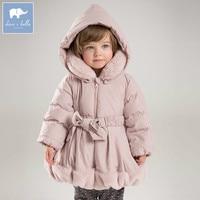 DB6932 dave bella winter baby girls down jacket children padding coat kids hooded outerwear