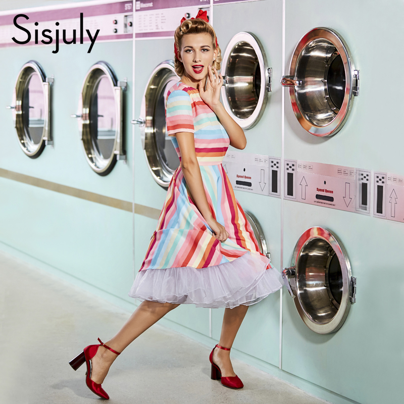 Sisjuly women vintage dress 1950s retro summer patchwork rainbow dress stripe short sleeve o neck female vintage dresses new