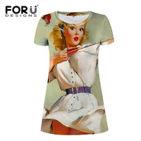 FORUDESIGNS Pin Up Dress Women Harajuku T shirt Dress Short Sleeve Funny Ladies Summer Ropa Dresses For Girls S M L XL New