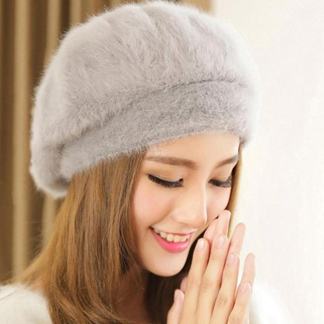 95789ecd6a Faux Fur Hat For Women Korean Winter Hat Candy Color Beret Hat Fashion 2015  Autumn New Stylish Female Cap Gorros Free Shipping