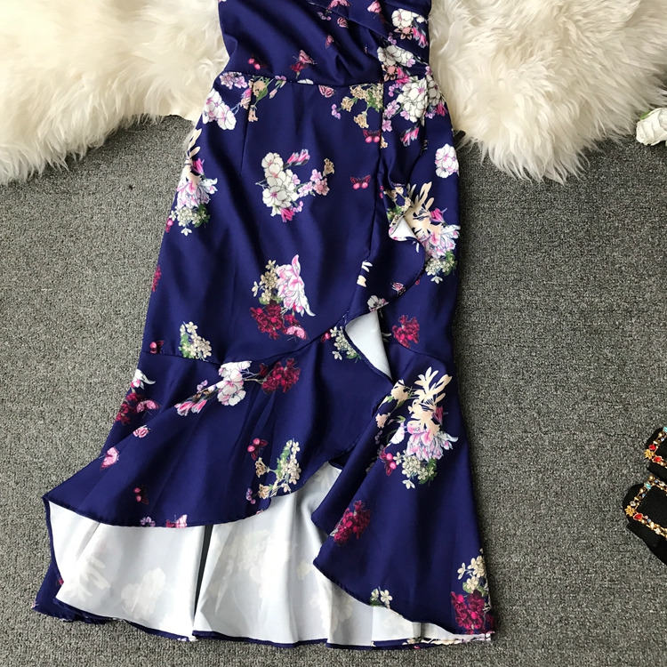 2019 summer sexy Slash neck Summer Dress Women floral print Irregularity dresses Vestidos 6