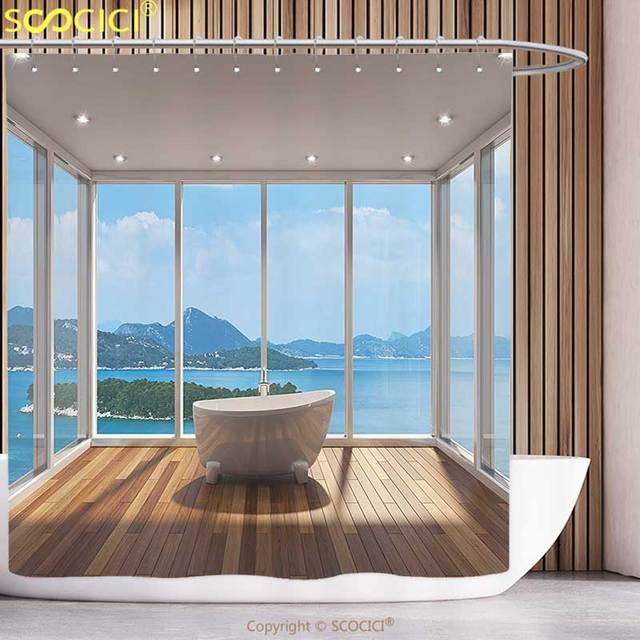 Fun Shower Curtain Bathroom Decor Minimalist Design Bathtub With Relaxing  Scenery Of Islands White Light Brown