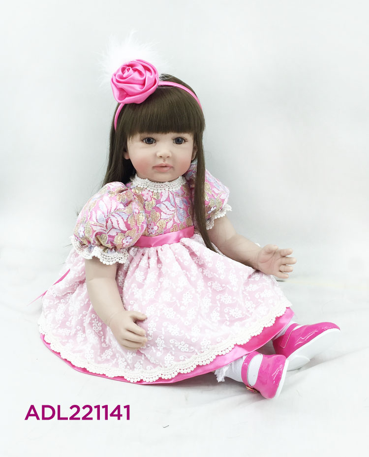 60cm Silicone Vinyl Reborn Baby Doll Toy Kid Child Birthday Christmas Gift Lifelike Toddler Princess Alive Bebe Doll Girl Boneca 2016 hot now fashion original edition sofia the first princess doll vinyl toy boneca accessories doll for kids best gift