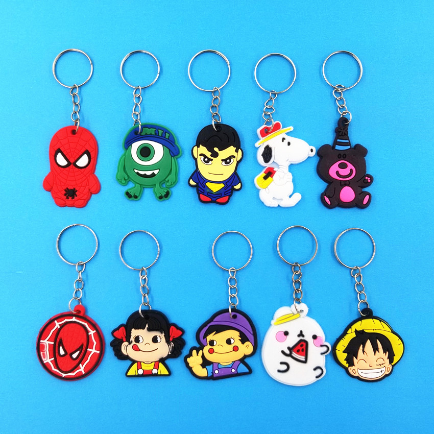 Cute Animal Keychain Women Superman Spiderman Big Eyes Potato Rabbit Keyring Boys Girls Backpack School Bag Accessories KC135