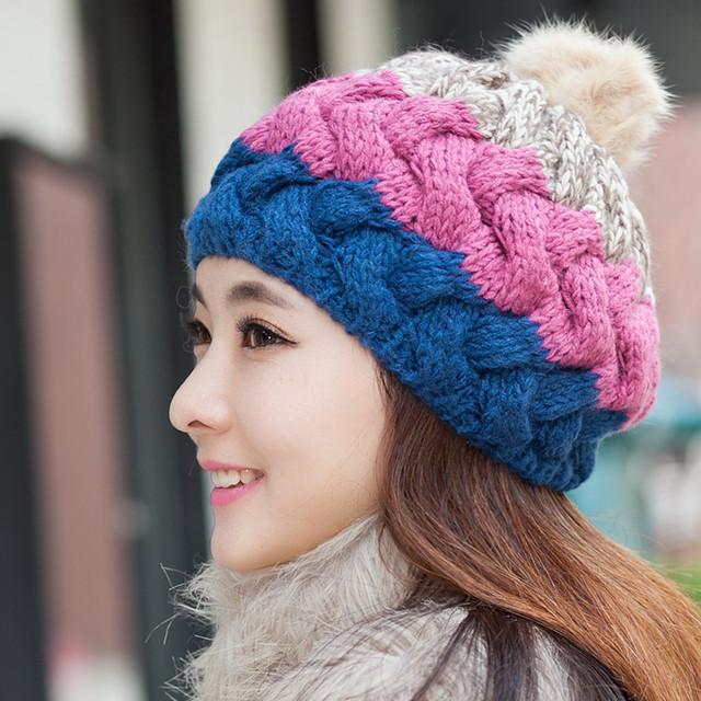 Pompons De Pele De coelho Chapéus de Inverno para As Mulheres Acrílico Malha Skullies & Gorros Bola De Pêlo Genuíno Tampas Gorros de Esqui Ao Ar Livre