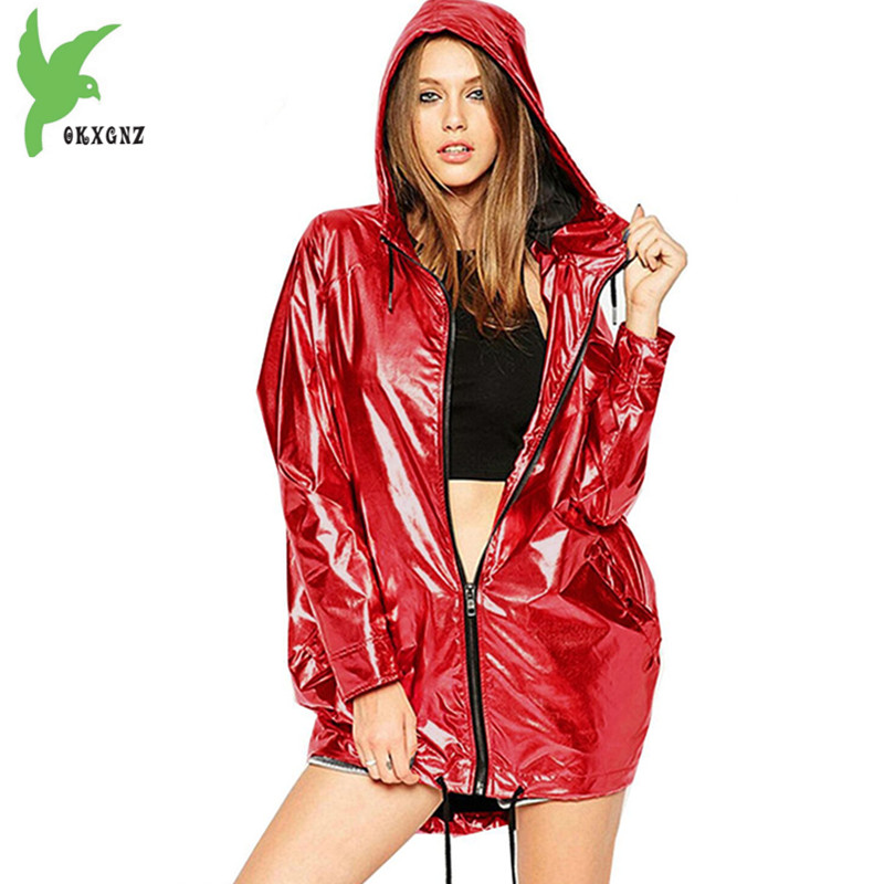 Waterproof   trench   coat for 2018 Spring autumn fashion Hooded raincoat Plus size Loose female Windbreaker Casual tops OKXGNZ 1888