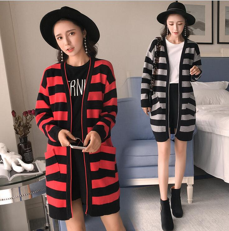 Pregnant women striped knitted jacket 2017 autumn new large size large long-sleeved sweater long paragraph sweater shirt цена 2017