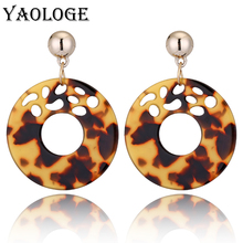 YAOLOGE Popular Round Acrylic Leopard Earring Geometric Shape Colorful Middle Hollow Unique Simple Fashion For Female Accessorie медвежонок помпон на затерянном острове