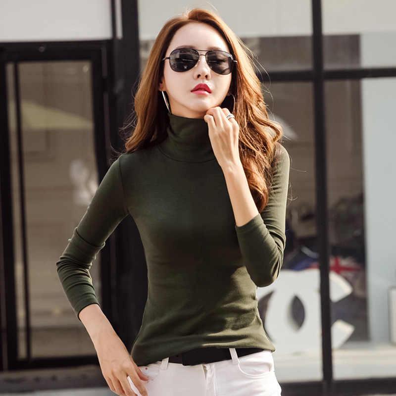 50a0d0a60b9 New Fashion Women Turtleneck T-Shirt Solid Long Sleeve Autumn Winter Slim  Bodycon Tops Female Wild Plus Size 3XL Casual Shirts