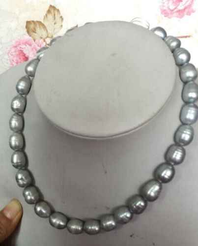Jewelry Hot selling elegant 12-13mm natural cultured gray baroque pearl necklace 17inch