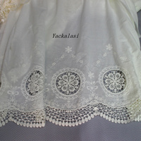 Allover Border Cotton Embroidery Lace Fabric Double Sides 135cm
