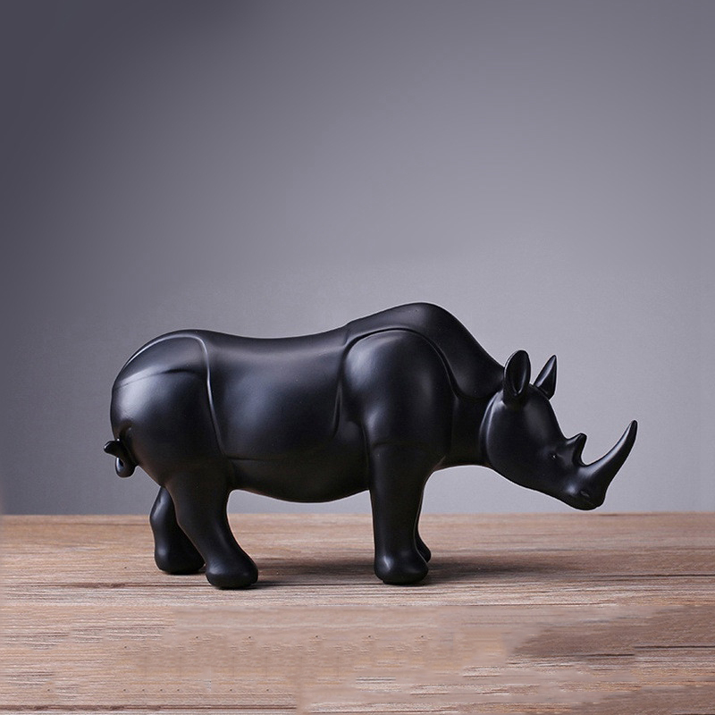 Modern Abstract Black Rhinoceros Statue Resin Ornaments Home Decoration Accessories Gift Rhinoceros Sculpture Animal Crafts