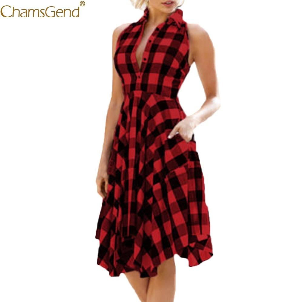 Women's Fashion summer dress girl Red Sexy Vintage Bodycon Plaid Sleeveless Zipper dresses woman party nightFeb3