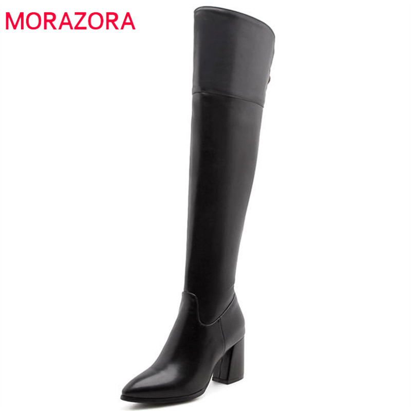 MORAZORA 2018 big size 33-47 over the knee boots women pu pointed toe autumn winter fashion boots sexy high heels shoes female стоимость