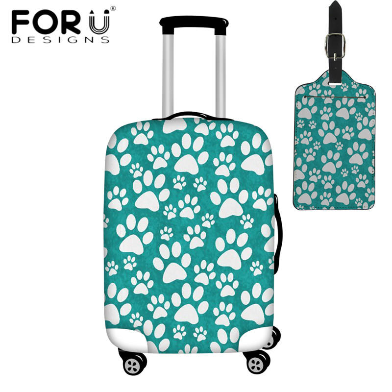 FORUDESIGNS Cartoon Cat Paw Print Green Luggage Cover Dustproof Zipper Suitcase Protective Cover For 18-32 Inch Case Luggage Tag