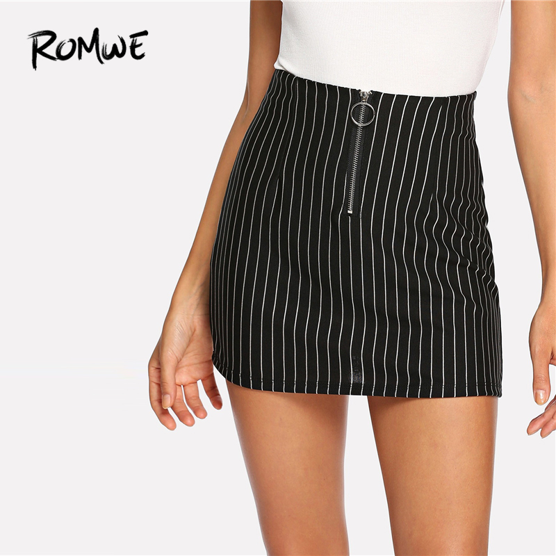2d10b89ad2 ROMWE Zip Up Front Striped Skirt Womens 2019 Fashion Cool Black Casual  Female Summer Sexy Above