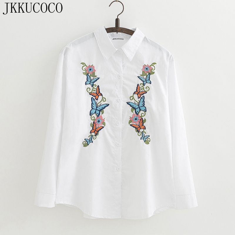 JKKUCOCO Flowers Butterfly Embroidery shirts long sleeve Women Shirt good quality Women Cotton Blouse shirts 2